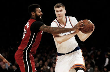New York Knicks forward Kristaps Porzingis (6) drives against Miami Heat forward James Johnson (16). Photo by: Jim McIsaac/Newsday