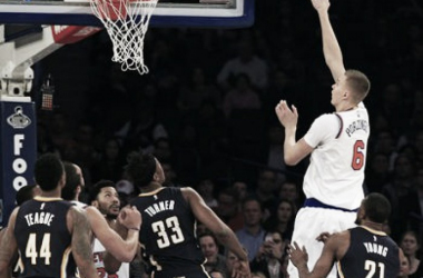New York Knicks Forward Kristaps Porzingis (6) shoots over the Indiana Pacers. Photo courtesy of Adam Hunger-USA TODAY Sports.
