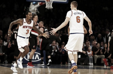 New York Knicks Guard Brandon Jennings Celebrating with Forward Kristaps Porzingis. Photo Courtesy of Adam Hunger-USA TODAY Sports.