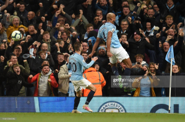 Manchester City's Belgian defender Vincent Kompany celebrates scoring the opening goal during the English Premier League football match between Manchester City and Leicester City at the Etihad Stadium in Manchester, north west England, on May 6, 2019. (Photo by Oli SCARFF / AFP)