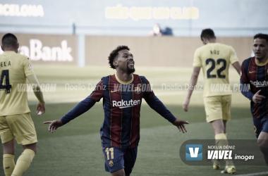 Konrad celebrando su gol| ante el Villarreal B. | Foto: Noelia Déniz