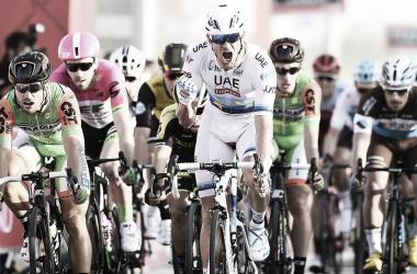Kristoff celebrandol a victoria conseguida en la primera etapa | Foto: Tim de Waele - Abu Dhabi Tour