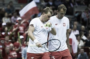 Marcin Matkowski and Lukasz Kubot during Poland's first round tie. Photo: Adam Nurkiewicz/Davis Cup