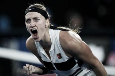 Kvitova celebra un punto en su partido de hoy ante Barty. Foto: gettyimages.es