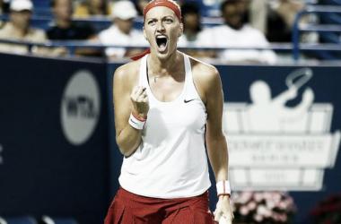 Kvitova celebra uno de los puntos conseguidos   Foto:Jared Wickerham / Connecticut Open)