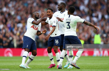 Tanguy Ndombele of Tottenham Hotspur celebrates with teammates after scoring his team's firt goal during the Premier League match between Tottenham Hotspur and Aston Villa at Tottenham Hotspur Stadium on August 10, 2019 in London, United Kingdom. (Photo by Julian Finney/Getty Images)