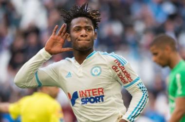 L'attaquant olympien a marqué dans les toutes dernières secondes du match. (afp.com / Bertrand Langlois)