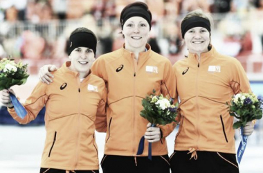 The Dutch Podium after the Ladies 1500 meters. (Image courtesy of USA Today and Robert Hanashiro)