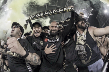 Laurent Ciman celebrates with fans after the match | Source: lafc.com