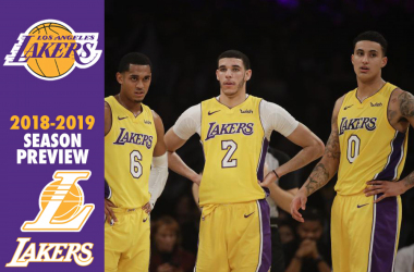 Los Angeles Lakers' Jordan Clarkson, from left, Lonzo Ball and Kyle Kuzma stand on the court during the first half of an NBA basketball game against the San Antonio Spurs Thursday, Jan. 11, 2018, in Los Angeles. |AP Photo/Jae C. Hong|
