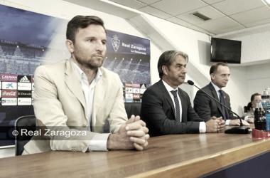 Lalo y Natxo en la presentación del técnico | Foto: Real Zaragoza