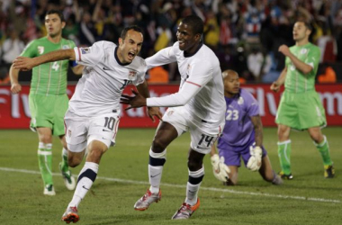Landon Donovan celebrates his 90th minute goal against Algeria at the 2010 FIFA World Cup (above). Donovan will be making his final USMNT appearance during these friendlies. (Photo Credit: Associated Press)