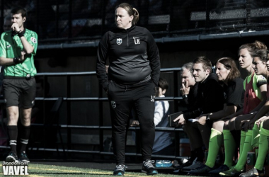 Laura Harvey looks on during the Seattle Reign's season opening loss to Sky Blue FC in 2016 | Source: Brandon Farris - VAVEL USA