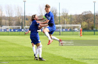 Luke McCormick celebrates scoring the second goal with Conor Gallagher of Chelsea during the Chelsea v Dinamo Zagreb UEFA Youth League Quarter Final match at Chelsea Training Ground on April 3, 2019 in Cobham, England. (Photo by Clive Howes/Chelsea FC via Getty Images)