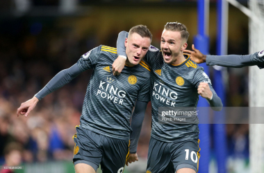 Jamie Vardy of Leicester City celebrates with James Maddison of Leicester City after scoring to make it 0-1 during the Premier League match between Chelsea FC and Leicester City at Stamford Bridge on December 22, 2018, in London, United Kingdom. (Photo by Plumb Images/Leicester City FC via Getty Images)