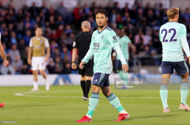 <div>HIGH WYCOMBE, ENGLAND - JULY 28: Thanawat Suengchitthawon of Leicester City during The Pre-Season Friendly between Wycombe Wanderers and Leicester City at Adams Park on July 28, 2021 in High Wycombe, England. (Photo by Plumb Images/Leicester City FC via Getty Images)</div><div><br></div>