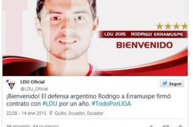 Recibimiento de Liga de Quito al defensor argentino. || Imagen: Twitter LDUQ
