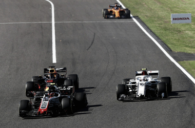 Momentos después del incidente entre Kevin Magnussen (20) y Charles Leclerc (16) | Fuente: Getty Images