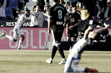 Momento en el que el Leganés se adelantaba en el marcado esta jornada, ante el Celta, en Butarque. | Foto: EFE