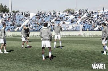 Los jugadores del Lega calentando ante el Sevilla FC | Foto: Gema Gil (Vavel)