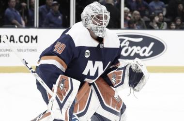 Lehner durante un partido con los Islanders la pasada campaña | Foto: NHL.com