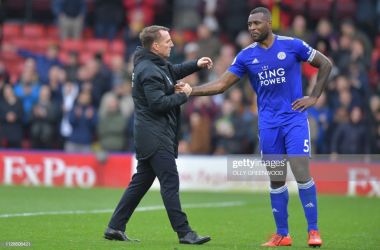 Brendan Rodgers consoles Wes Morgan following Watford defeat - Getty Images Olly Greenwood