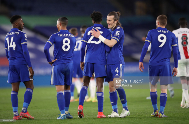 Leicester celebrate after a determined second-half performance which earned a third consecutive win in all competitions. Credit: Getty/Alex Pantling