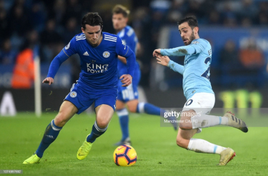 Ben Chilwell competes with Bernardo Silva for possession | Photo: Getty/ Manchester City FC