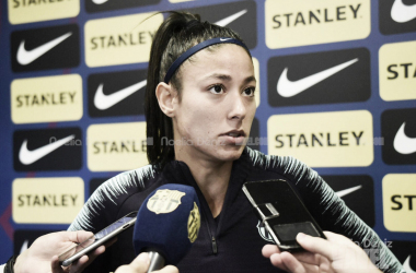 Leila en rueda de prensa antes del encuentro ante el Valencia | Foto: Noelia Déniz - VAVEL