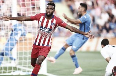 Lemar celebrando su primer gol en Liga. Fuente: Atlético de Madrid