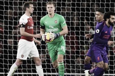 Bernd Leno en una acción del partido | Fotografía: Arsenal