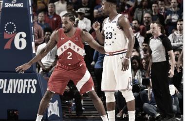 Los goleadores del juego 4: Kawhi Leonard marcando a Jimmy Butler. Fuente: @NBA.