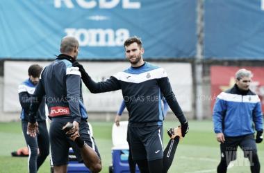 Leo Baptistao y Naldo en el entrenamiento. Foto: Tomás Rubia.