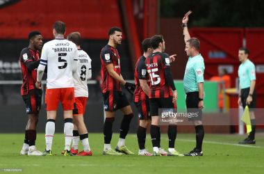 <div>Jefferson Lerma receives his marching orders in the first half (Photo by Naomi Baker/Getty Images)</div><div><br></div>
