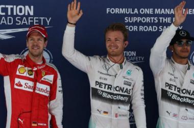 Os três primeiros pilotos para a corrida de amanhã (foto in:skysports.com)