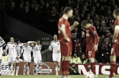 Steven Gerrard frustrated after full time.