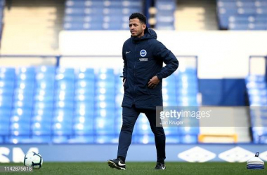 Liam Rosenior looking on ahead of Brighton U23's Premier League 2 game against Everton at Goodison Park last season. Image courtesy of Jan Kruger on Getty Images.