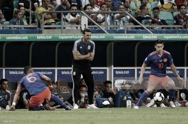 POR EL PRIMER EXITO. Scaloni, buscará su primer triunfo ante Colombia como entrenador de la Selección, en el último partido fue derrota en el estreno de Copa América. Foto: Getty images