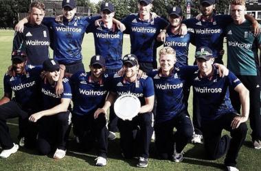 The successful England Lions celebrate winning the Tri-Series (image via: Dawid Malan - Twitter)