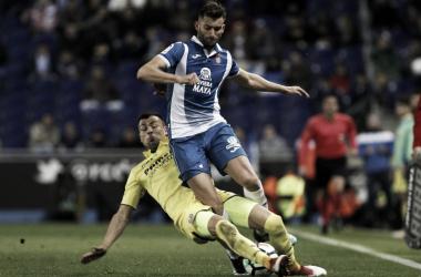Leo Baptistao en un encuentro ante el Villarreal. Foto: Web oficial RCD Espanyol.