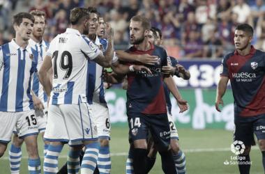 Real Sociedad y Huesca se enfrentan el domingo en Anoeta, en el partido referente a la J21 de Liga (FOTO://LaLiga)