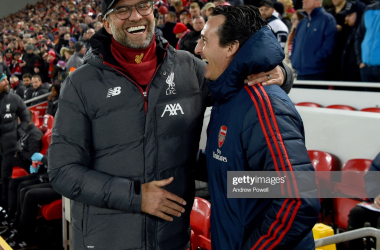 Liverpool and Arsenal were all smiles during their incredible fourth round match in the League Cup at Anfield (Getty Images)