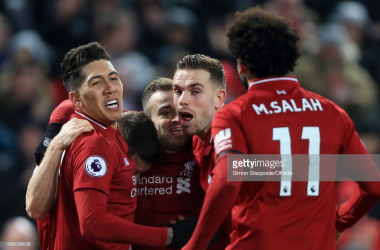 Liverpool celebrate their third goal against Crystal Palace, but four goals were required to seal victory (Getty Images/Simon Stacpoole)