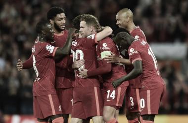 El festejo de Liverpool vs Milan. Foto: Liverpool.<br>
