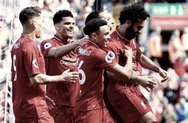 El Liverpool celebra un tanto en Anfield en la última jornada de la temporada 17/18. | Imagen: Liverpool