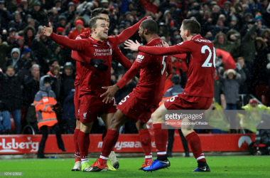 Shaqiri came off the bench and scored twice in Liverpool's 3-1 victory. (Photo: Getty Images/Simon Stacpoole)