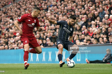 Manchester City's Sergio Aguero looks to turn Liverpool's Dejan Lovren during the Premier League match between Liverpool FC and Manchester City at Anfield on October 7, 2018 in Liverpool, United Kingdom. (Photo by Rich Linley - CameraSport via Getty Images)