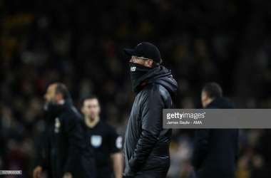 Jurgen Klopp the manager / head coach of Liverpool during the Emirates FA Cup Third Round match between Wolverhampton Wanderers and Liverpool at Molineux on January 7, 2019 in Wolverhampton, United Kingdom. (Photo by James Baylis - AMA/Getty Images)