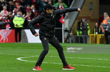 Jurgen Klopp manager of Liverpool celebrates at the end of the Premier League match between Liverpool FC and Tottenham Hotspur at Anfield on March 31, 2019 in Liverpool, United Kingdom. (Photo by Andrew Powell/Liverpool FC via Getty Images)