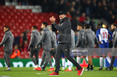 Jurgen Klopp, Manager of Liverpool acknowledges the fans after the UEFA Champions League Quarter Final first leg match between Liverpool and Porto at Anfield on April 09, 2019 in Liverpool, England. (Photo by Julian Finney/Getty Images)
